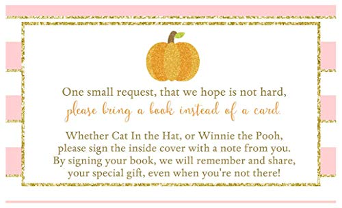 Bring A Book Cards Sparkling Pumpkin Baby Shower Autumn Sprinkle Keepsake Gift Idea Games Activity Fall Library Collection Pink Gold Glitter Stripes Girls It's A Girl Halloween Orange (25 -