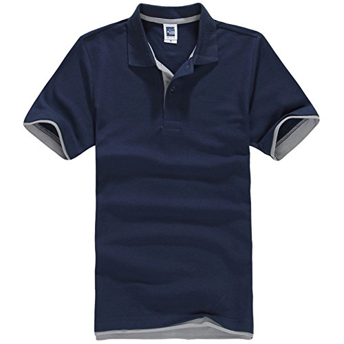 NEWCOSPLAY Mens Short-Sleeve Double Color Collars Polo Shirt (2XL, Navy Blue-Gray)