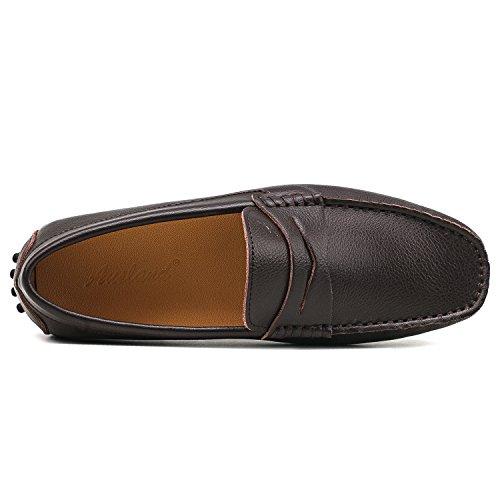 Shenduo Marrón Zapatos Mocasines Suave para Hombre Cuero de Cordones Casuales D7152 Hombre Cómodos sin ZOwZr