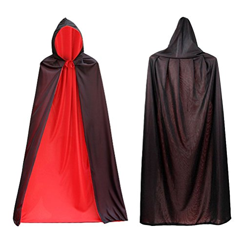 COBEST Halloween Costumes Cloak with Hood Vampire Witch Cosplay Costume for Adults and Kids Hooded Cape -