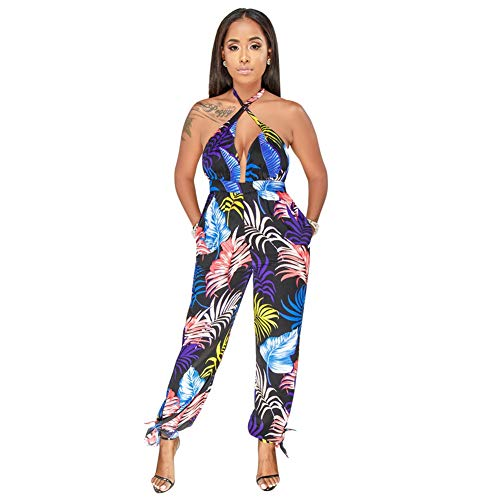 Women's Sexy V Neck Wide Leg Long Pants Halter Off Shoulder Backless Ruffle Floral Printed Jumpsuit Rompers Blue