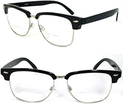 ffbe4900b8ec Clubmaster Horned Rim Men Women Bifocal Reading Glasses Clear Lens (+1.50,  Black)