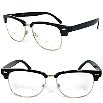a0412ca669 Image Unavailable. Image not available for. Color  Clubmaster Horned Rim  Men Women Bifocal Reading Glasses ...
