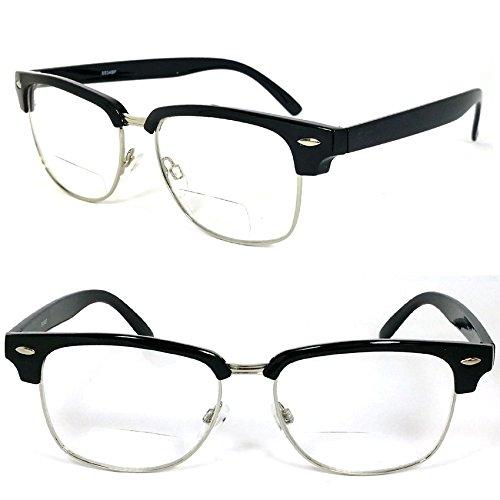 Clubmaster Horned Rim Men Women Bifocal Reading Glasses Clear Lens (+1.50, - Horned Glasses Rim Men For