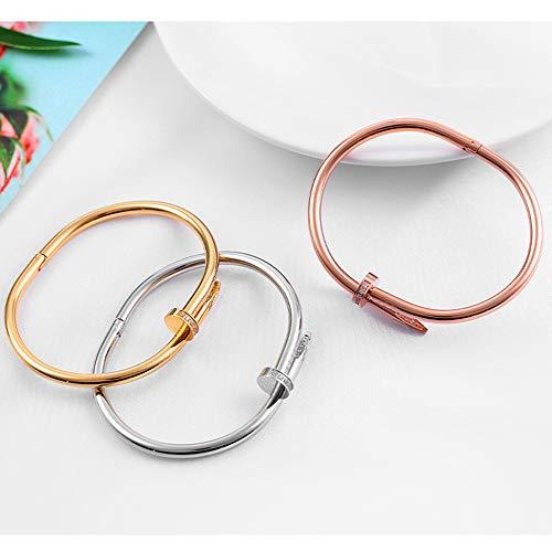 Stashix Titanium Steel Bracelet Ladies Gold Fashion Personality Gorgeous Screw Cuff Bracelet Valentine's Day Wedding (Gold)