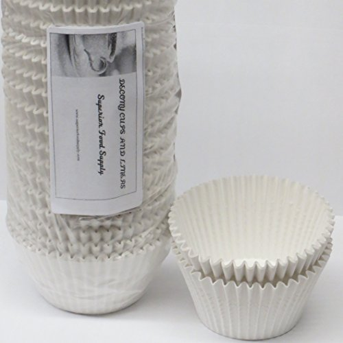 Decony White Jumbo Cupcake muffin Liners 6'' - appx. 500 pack - Giant Muffin