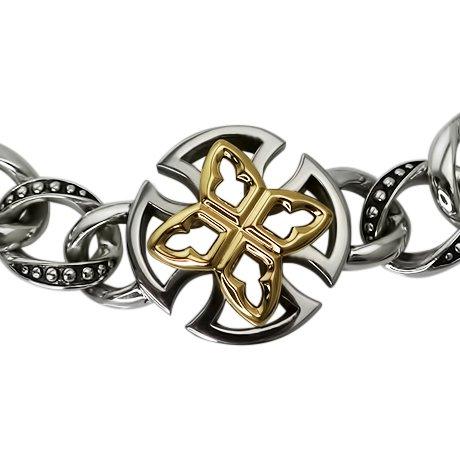 argentvm avrvm-Gilles de beaugerais la Croix-Bracelet Femme-Argent 925/1000, or jaune 14carats (585), longueur 21cm