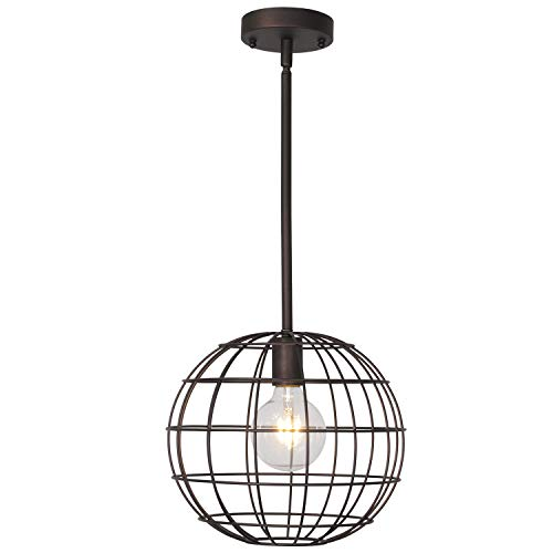 Lucidce Industrial Vintage 1 Light Pendant Lighting Ceiling Light with 12 Inches Metal Cage Pendant Light Oil Rubbed Bronze Finish Hanging Light Kitchen Dining Hall Bedroom