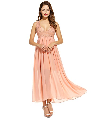 ANGVNS Women Sequined Maxi Dress Chiffon Evening Gown Wedding Bridesmaid Dress(Pink,M)