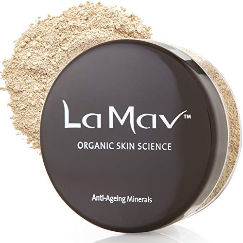 La Mav Foundation Powder Makeup LIGHT/MEDIUM - Chemical-free Anti-Aging Mineral Foundation, Concealer, SPF15 and Powder All-in-one - Light or Buildable Coverage - Long Lasting, Water Resistant Formula