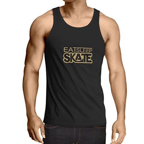 Vest Eat Sleep Skate - for Skaters, Skate Longboard, Skateboard Gifts (Small Black Gold)