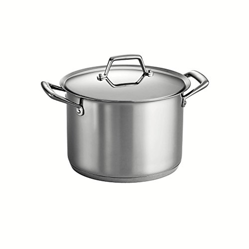 Tramontina 80101/012DS Gourmet Prima Stainless Steel Tri-Ply Base Covered Stock Pot, 12 Quart, Made in Brazil by Tramontina