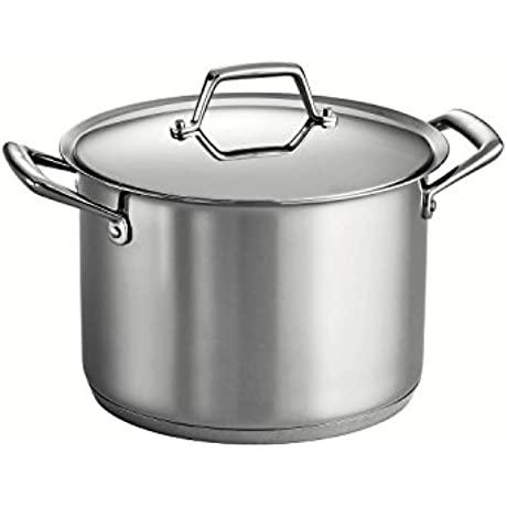 Tramontina Prima 12 Quart 18 10 Stainless Steel Tri Ply Base Covered Stock Pot
