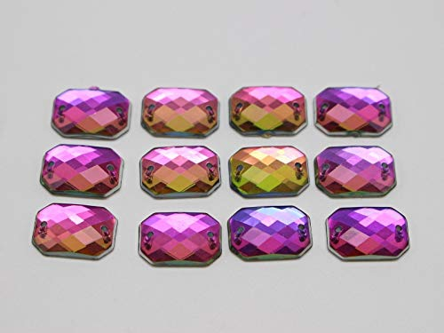 (100 Rainbow AB Flatback Acrylic Faceted Rectangle Sewing Rhinestone Bead 10X14mm)