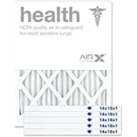 AIRx Filters Health 14x18x1 Air Filter MERV 13 AC Furnace Pleated Air Filter Replacement Box of 6, Made in the USA