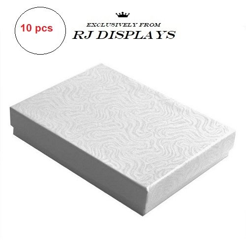 Elegant Box Jewelry (10 Pack Cotton Filled Elegant White Color Jewelry, Gift and Retail Boxes 5.25 X 3.75 X 1 Inch Size)