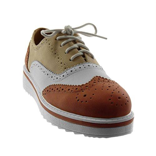 Scarpe Moda Donna Tacco Sneaker Piatto Perforato Derby 3 Rosso Cm Zeppe Angkorly Suola 5 Di Scarpa UdqU85w