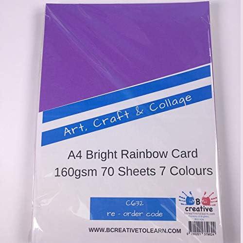 Rainbow Intensiv A4160gsm BRIGHT RAINBOW FARBIGE Karte (Stück 70Blatt)