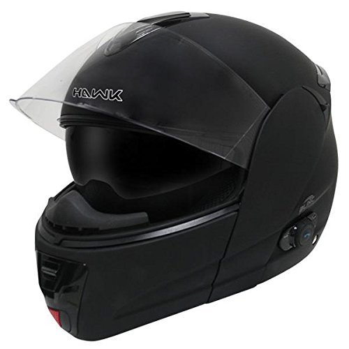 Hawk H-66 Flat Black Dual-Visor Modular Motorcycle Helmet with Blinc Bluetooth - Large