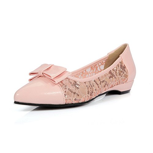 Toe Ladies Flats Pink Shoes Bows BalaMasa Lace Pointed Urethane 4ExUCqPw