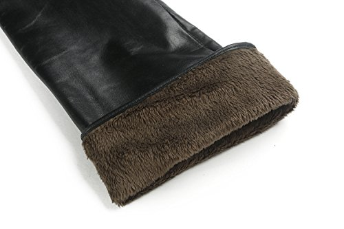 Ambesi Women's Fleece Lined Opera Long Lambskin Leather Winter Gloves Black XL