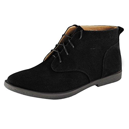 iLoveSIA(T) Men's Desert Boots Suede Lace Up Flats Oxford Black Size 9
