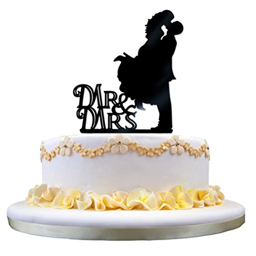 Acrylic Cake Decoration, Leewa Acrylic Wedding Cake Topper Love Groom And Bride (I, 16x10.8x0.2 cm)