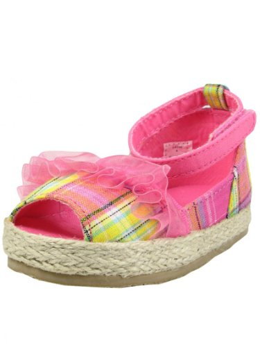 Pink Plaid and Ruffle Peep Toe Espadrille Toddler Girl Baby Shoes by Baby Deer - Hot Pink - 9 Toddler / 36 Mths-42 Mths / (Plaid Peep Toe)