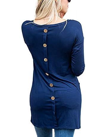 4c2f2e9af8e iGENJUN Women's Back Button 3/4 Sleeve Casual Crew Neck Loose T Shirt Tunic  Tops
