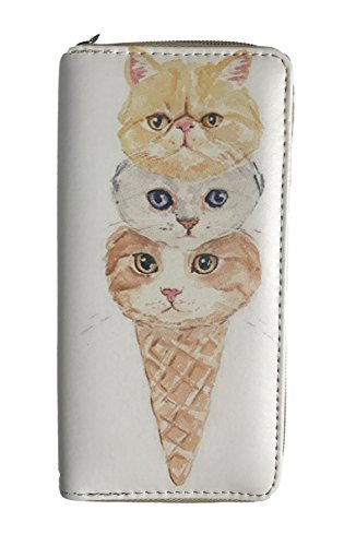 Alfa Cone (Novelty Wallet With Cute Stacked Cats on Ice Cream Cone)