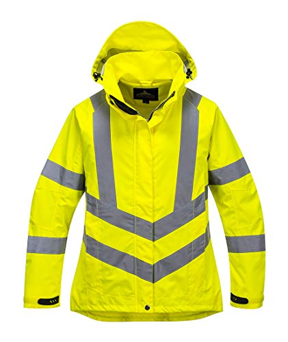(Portwest Ladies Hivis Breathable Jacket Viz Insulated Safety Visability Work Bomber Rain ANSI 3, Small Yellow)
