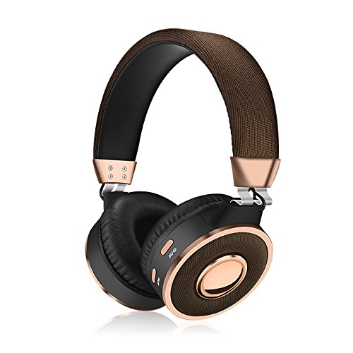 Kanen BT-08 Bluetooth Headphone,for cellphones adult Wireless Over Ear Headphones, TF Card Mp3 Player Fm Radio Headsets with Mic, Noise Cancelling, Strong Bass, Portable (Gold)