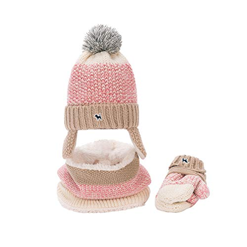LoveKids Sherpa Lined Printed Hat/Scarf/Glove Knitted Accessory Set for Kids(27022-Light Pink-M)