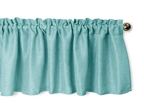 Aiking Home Pure 100% Faux Linen Window Valance - Size 56 inch x 16 inch, Aqua ()