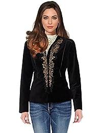 Women's Velvet Jacket Blazer Black Gold