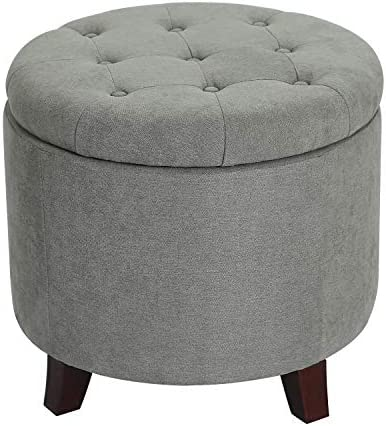 Furnistar 19.7 Modern Button Tufted Round Fabric Storage Ottoman Footstool with Removable Lid Gray