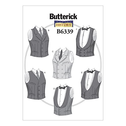 Butterick Patterns B6339 Single or Double-Breasted Vests, XM (Small-Medium-Large)