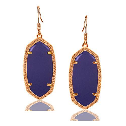 Fashion Metal Oval Crystal Quartz Drop Dangle Earrings for Women (Rose(blue)) ()