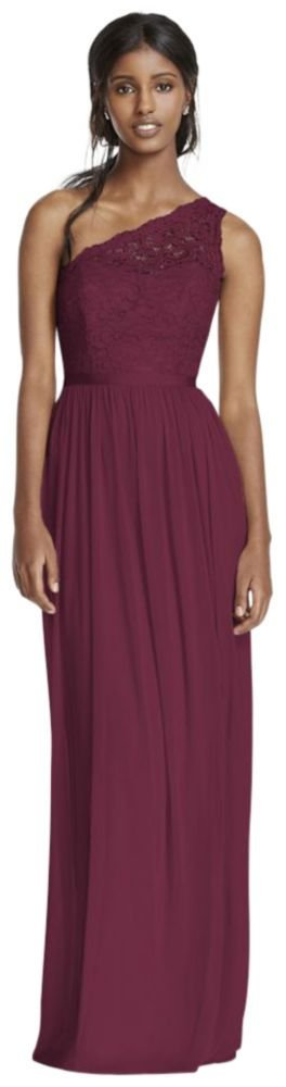 David's Bridal Long One Shoulder Lace Bridesmaid Dress Style F17063, Wine, 14 by David's Bridal