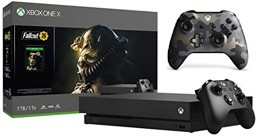 Microsoft Xbox One X 1TB Fallout 76 Bundle (Discontinued) Bundle + Xbox One Wireless Controller   Include:Xbox One X 1TB Console ,Fallout 76,Night Ops Camo Special Edition Wireless Controller