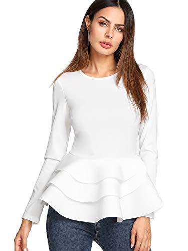 Tiered Sleeve Top - Romwe Women's Vintage Layered Ruffle Hem Slim Fit Round Neck Peplum Blouse #White M