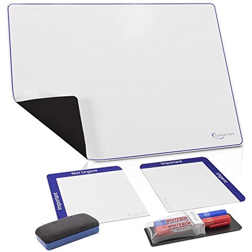 Dry Erase Binder (Fridge Magnetic Dry Erase White Board W/ 2 Tiles, Markers & Eraser: Stop Confusion! Write a Schedule for a Week or Month! Large Refrigerator Whiteboard. Clear Magnet Sheet Planner. Blank Organizer Kit)