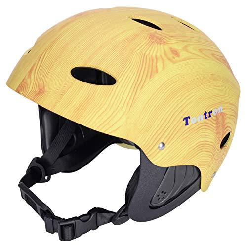 Tontron Adult Whitewater Kayaking Canoeing Bike Skate Multi-Sports Helmet (Matte Wood, Large)