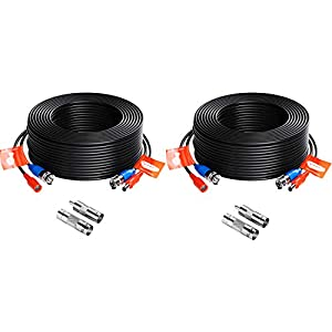 ZOSI 2 Pack 100ft (30 Meters) 2-in-1 Video Power Cable, BNC Extension Surveillance Camera Cables for Video Security… Surveillance Camera Cables