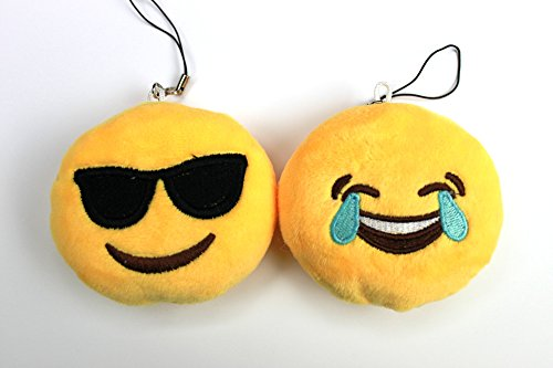 Syleia Emoji Set of 2 Face With Tears of Joy and Smiling Face With Sunglasses Yellow Bright Plush Toy, Backpack Purse Accessory, Party Favor, - Face Smiling With Sunglasses