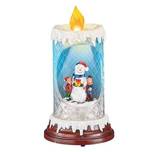 Collections Etc Lighted Glittery Snowman and Children Spinning Candle with Faux Snow - Tabletop or Mantel Holiday Décor