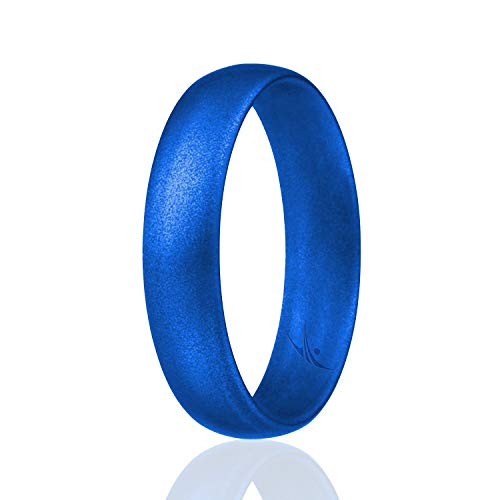 ROQ Silicone Wedding Ring for Women, Affordable Comfort Fit 6mm Love Metallic Silicone Rubber Wedding Bands - Metal Blue - Size 6
