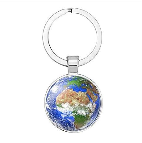 Amazon silver color globe camera earth world map key chain silver color globe camera earth world map key chain glass cabochon key ring car key holder gumiabroncs Gallery