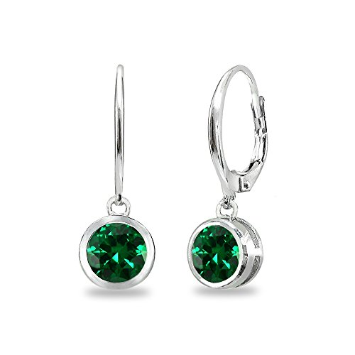 Sterling Silver Simulated Emerald 6mm Round Bezel-Set Dangle Leverback Earrings