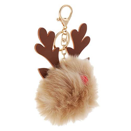 NATFUR Plush Cute Keychain Christmas Elk Key Ring Handbag Purse Hanging Pendants for Men Holder Perfect for Girls for Gift Great Lovely | Color - Khaki
